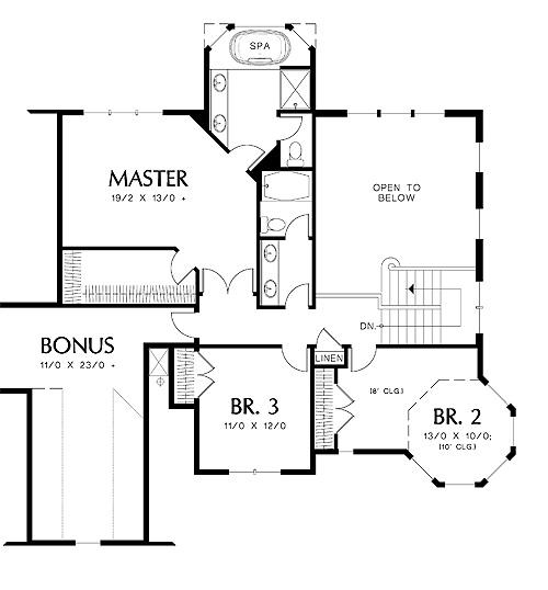Second Floor Plan image of Merrimac House Plan