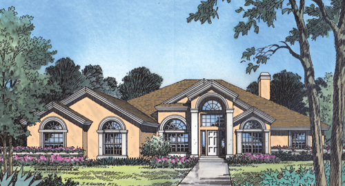 Front Rendering (Color) by DFD House Plans